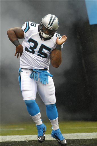 Mike Tolbert introduced during opening pre - game on  Sept. 16, 2012. (AP Photo/Chuck Burton)