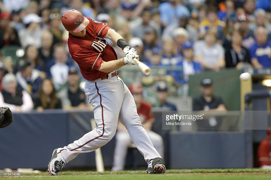 MILWAUKEE, WI - MAY 31: Paul Goldschmidt #44 of the Arizona Diamondbacks hits a single in the third inning against the Milwaukee Brewers at Miller Park on May 31, 2015 in Milwaukee, Wisconsin. (Photo by Mike McGinnis/Getty Images)  *** Local Caption *** Paul Goldschmidt