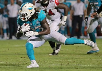 MIAMI GARDENS, FL - AUGUST 29: Jay Ajayi #33 of the Miami Dolphins rushes during a preseason game against the Atlanta Falcons at Sun Life Stadium on August 29, 2015 in Miami Gardens, Florida. (Photo by Mike Ehrmann/Getty Images)