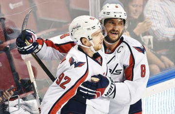 SUNRISE, FL - OCTOBER 31: Alex Ovechkin #8 and Evgeny Kuznetsov #92 of the Washington Capitals celebrate during a NHL game against the Florida Panthers at the BB&T Center on October 31, 2015 in Sunrise, Florida. (Photo by Ronald C. Modra/NHL/Getty Images)
