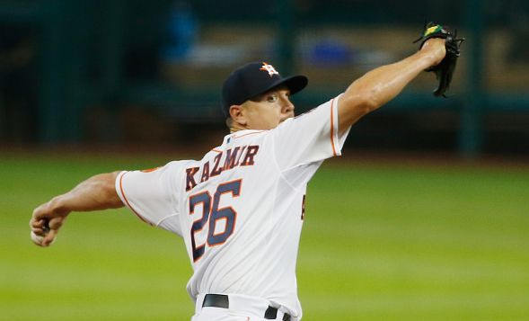 HOUSTON, TX - JULY 30: Scott Kazmir #26 of the Houston Astros throws a pitch in the first inning against the Los Angeles Angels of Anaheim during their game at Minute Maid Park on July 30, 2015 in Houston, Texas. (Photo by Scott Halleran/Getty Images)