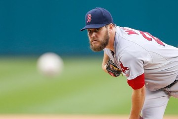 DETROIT, MI - AUGUST 8: Wade Miley #20 of the Boston Red Sox warms up prior to the start of the game against the Detroit Tigers on August 8, 2015 at Comerica Park in Detroit, Michigan. (Photo by Leon Halip/Getty Images)