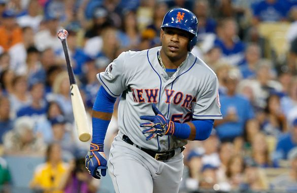 LOS ANGELES, CA - OCTOBER 10: Yoenis Cespedes #52 of the New York Mets throws his bat after hitting a solo home run in the second inning against the Los Angeles Dodgers in game two of the National League Division Series at Dodger Stadium on October 10, 2015 in Los Angeles, California. (Photo by Sean M. Haffey/Getty Images)