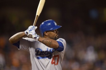 SAN FRANCISCO, CA - SEPTEMBER 29: Howie Kendrick #47 of the Los Angeles Dodgers bats against the San Francisco Giants in the top of the first inning at AT&T Park on September 29, 2015 in San Francisco, California. (Photo by Thearon W. Henderson/Getty Images)