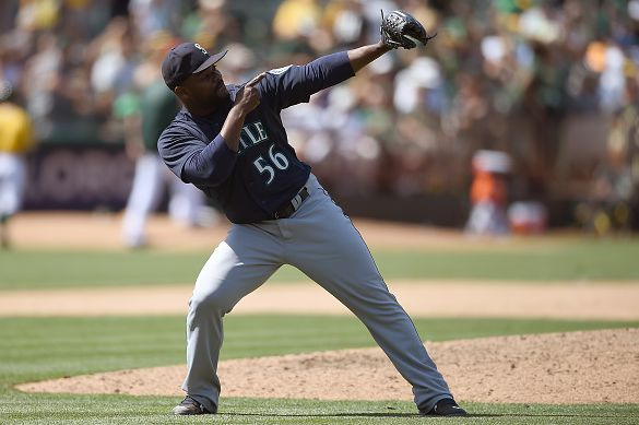 OAKLAND, CA - JULY 05: Fernando Rodney #56 of the Seattle Mariners celebrates defeating the Oakland Athletics 2-1 at O.co Coliseum on July 5, 2015 in Oakland, California. (Photo by Thearon W. Henderson/Getty Images)