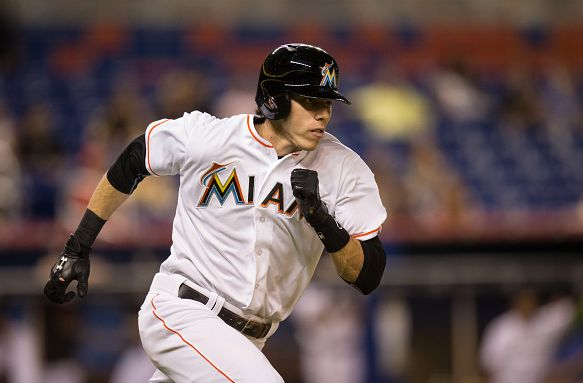 MIAMI, FL - JUNE 11: Christian Yelich #21 of the Miami Marlins runs to first base during the game against the Colorado Rockies at Marlins Park on June 11, 2015 in Miami, Florida. (Photo by Rob Foldy/Getty Images)