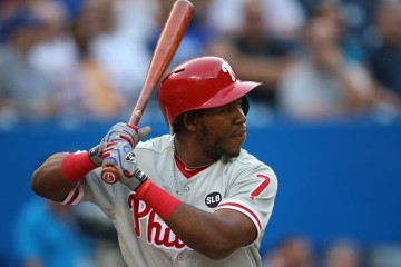 TORONTO, CANADA - JULY 28: Maikel Franco #7 of the Philadelphia Phillies bats during MLB game action against the Toronto Blue Jays on July 28, 2015 at Rogers Centre in Toronto, Ontario, Canada. (Photo by Tom Szczerbowski/Getty Images)