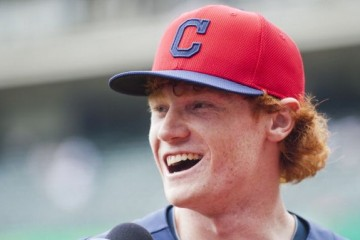 CLEVELAND, OH - JUNE 15: Cleveland Indians first round draft pick Clint Frazier talks to the media prior to the game against the Washington Nationals at Progressive Field on June 15, 2013 in Cleveland, Ohio. (Photo by Jason Miller/Getty Images)