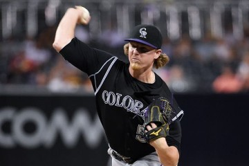 SAN DIEGO, CA - SEPTEMBER 8: Jon Gray #55 of the Colorado Rockies pitches during the first inning of a baseball game against the San Diego Padres at Petco Park September 8, 2015 in San Diego, California. (Photo by Denis Poroy/Getty Images)