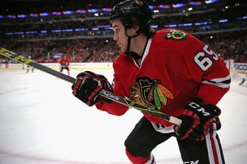 CHICAGO, IL - JANUARY 10: Andrew Shaw #65 of the Chicago Blackhawks follows the puck against the Colorado Avalanche at the United Center on January 10, 2016 in Chicago, Illinois. The Blackhawks defeated the Avalanche 6-3. (Photo by Jonathan Daniel/Getty Images)