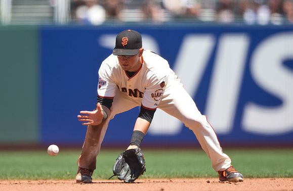 SAN FRANCISCO, CA - JUNE 25: Joe Panik #12 of the San Francisco Giants fields a ground ball against the San Diego Padres during the fifth inning at AT&T Park on June 25, 2015 in San Francisco, California. The San Francisco Giants defeated the San Diego Padres 13-8. (Photo by Jason O. Watson/Getty Images)