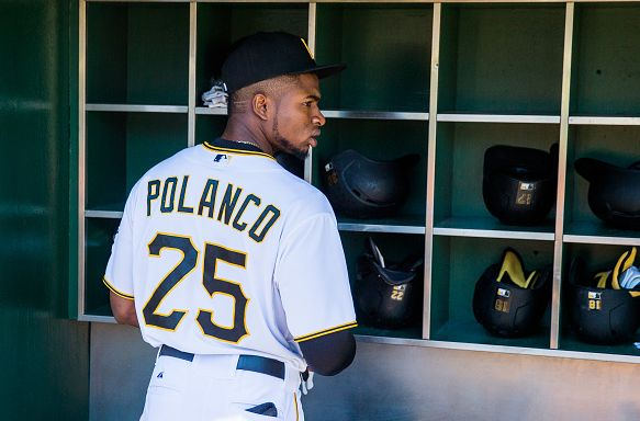 PITTSBURGH, PA - AUGUST 22: Gregory Polanco #25 of the Pittsburgh Pirates looks on before the game against the San Francisco Giants at PNC Park on August 22, 2015 in Pittsburgh, Pennsylvania. (Photo by Rob Tringali/SportsChrome/Getty Images)