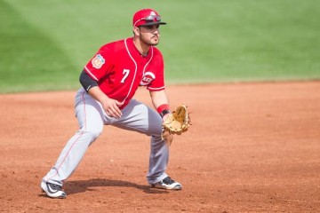 GOODYEAR, AZ - MARCH 1: Eugenio Suarez #7 of the Cincinnati Reds fields his position during a spring training game against the Cleveland Indians at Goodyear Ballpark on March 1, 2016 in Goodyear, Arizona. (Photo by Rob Tringali/Getty Images)