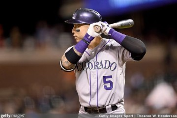 SAN FRANCISCO, CA - OCTOBER 02: Carlos Gonzalez #5 of the Colorado Rockies bats against the San Francisco Giants in the top of the third inning at AT&T Park on October 2, 2015 in San Francisco, California. (Photo by Thearon W. Henderson/Getty Images)