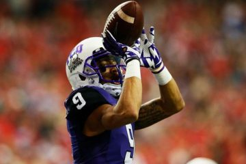 ATLANTA, GA - DECEMBER 31: Josh Doctson #9 of the TCU Horned Frogs celebrates a touchdown in the third quarter against the Ole Miss Rebels during the Chik-fil-A Peach Bowl at Georgia Dome on December 31, 2014 in Atlanta, Georgia. (Photo by Kevin C. Cox/Getty Images)