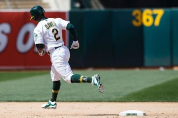 OAKLAND, CA - MAY 28: Khris Davis #2 of the Oakland Athletics rounds the bases after hitting a three run home run against the Detroit Tigers during the seventh inning at the Oakland Coliseum on May 28, 2016 in Oakland, California. The Oakland Athletics defeated the Detroit Tigers 12-3. (Photo by Jason O. Watson/Getty Images)